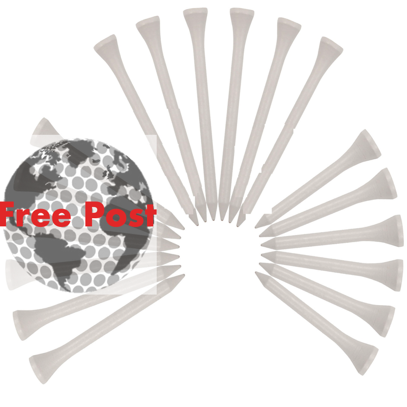White wooden tees, natural materials, plastic free